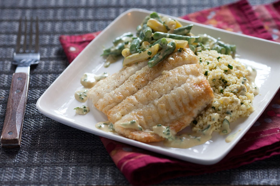 Seared Flounder with Yellow & Green Bean Salad over Millet