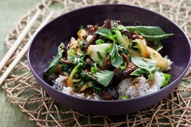 Ginger Beef Stir-Fry with Tatsoi & Jasmine Rice