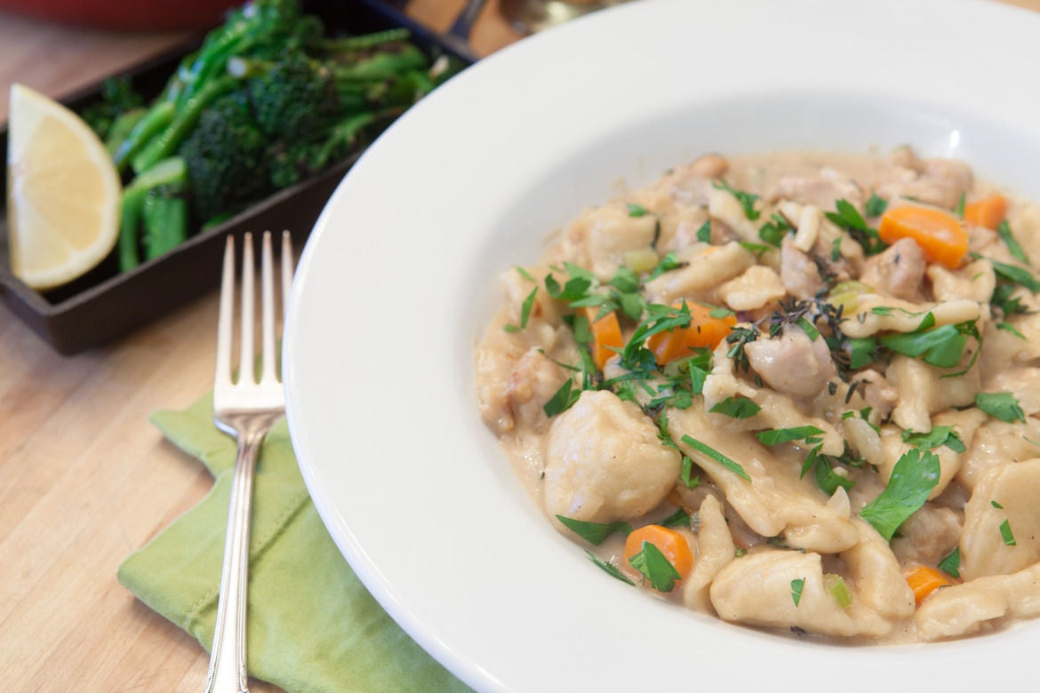 Chicken and Dumplings with Broccolini