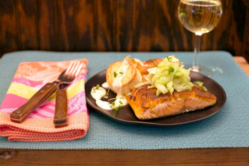 Curry Salmon with Celery and Meyer Lemon Aioli