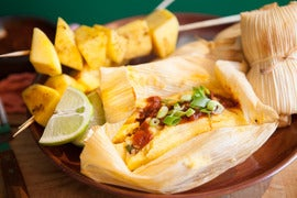 Pork Tamales with Smoked Chili Sauce and Mango