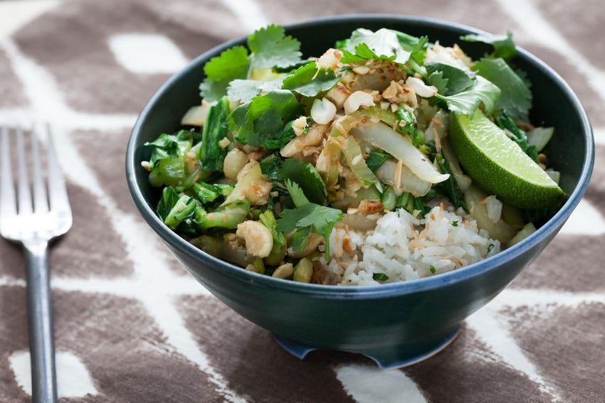 Coconut Jasmine Rice with Bok Choy, Cashews & Golden Raisins