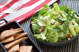 Greek Salad with Feta Cheese & Toasted Whole Wheat Pita Chips