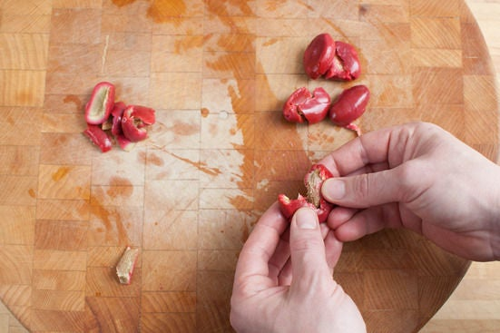 Prepare the olives: