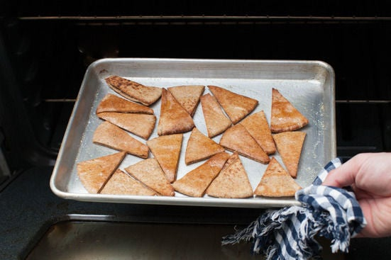 Make the pita chips: