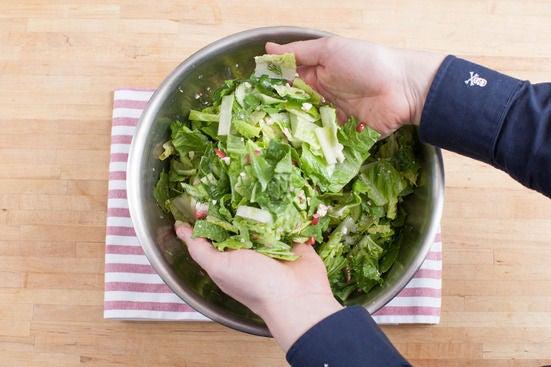 Make the salad & plate the dish: